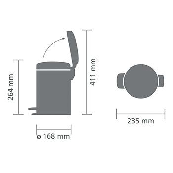 Мусорный бак с педалью NewIcon 3л