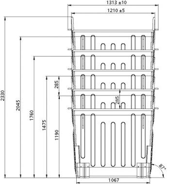 Разборная конструкция контейнера позволяет штабелировать евроконтейнеры, что значительно снижает затраты на перевозку и складирование.
