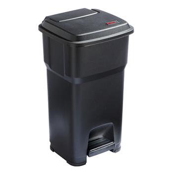 Урна-контейнер пластиковый с педалью 60 л. желтый ГЕРА