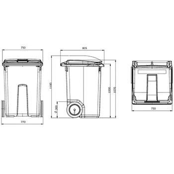 Мусорный контейнер MGB-370 (3 колеса)