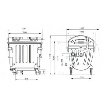 Евро контейнер оцинкованный 1100л. (полукруглая крышка)