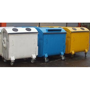 Евроконтейнер с крышками под раздельный сбор мусора (пластик, бумага, стекло)