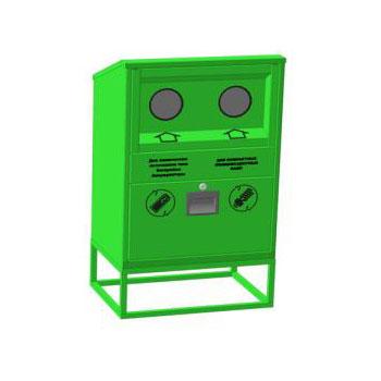 Контейнер для сбора, накопления и временного хранения отработанных компактных люминесцентных ламп и химических источников тока 580x400x1000