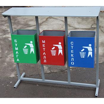 Урна для раздельного сбора мусора 4-х секционная ПРЯМОУГОЛЬНАЯ, 20 и 25л. НАВЕС