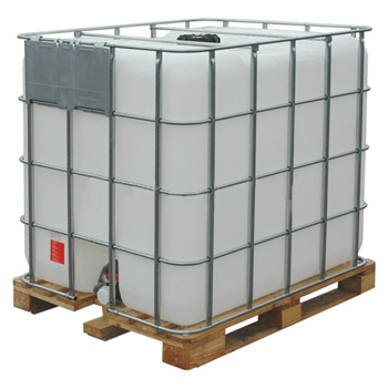 Б/у емкость кубическая MX-1000 с краном на поддоне белая (чистая)