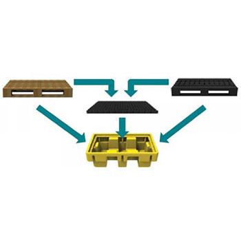 ЛРТЖ Поддон для 2х бочек, мобильная штабелируемая ёмкость 230 л- герметичный поддон с решеткой для Евро поддона 120 х 80 см или 2х208 л бочек