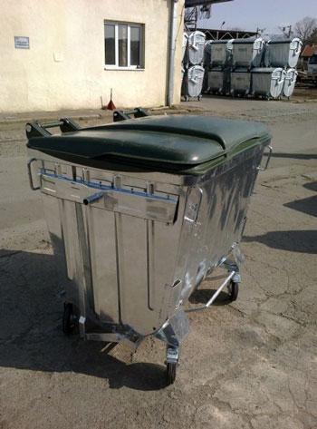 Оцинкованный контейнер для сбора ТБО 1100л. (с плоской пластиковой крышкой)