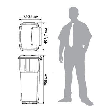 Урна-контейнер пластиковый с педалью 85 л. желтый ГЕРА