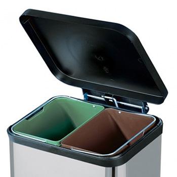 Урна педальная для раздельного мусора Hailo Trento Oko 2 x 11 Серебро