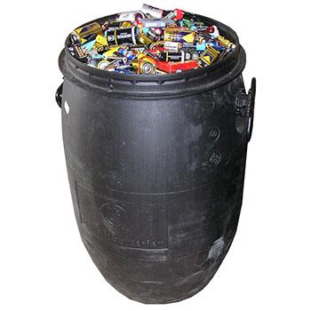 Пластиковая бочка для сбора и хранения батареек и аккумуляторов 30 литров