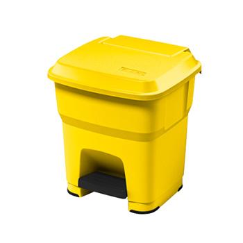 Урна-контейнер пластиковый с педалью 35 л. желтый ГЕРА