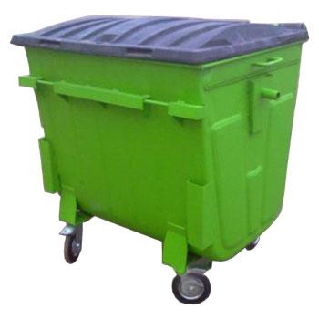 Евроконтейнер для мусора 1100 л окрашеный с пластиковой крышкой