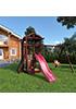 Деревянная детская площадка для дачи Панда fort с сеткой