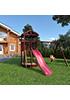Деревянная детская площадка для дачи Панда tower с качельным модулем