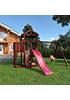 Деревянная детская площадка для дачи Панда с балконом и сеткой