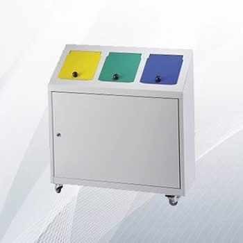 Металлический бак для раздельного сбора мусора в офисе 3x32л