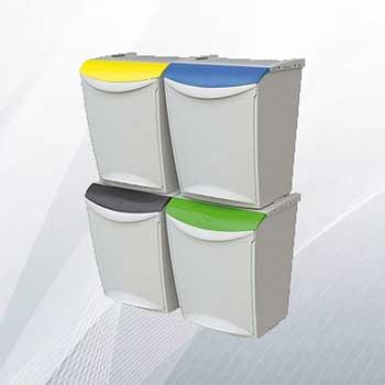 Пластиковый бак для раздельного сбора мусора в офисе 25л