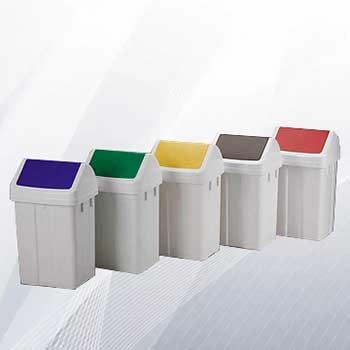 Пластиковый бак для раздельного сбора мусора в офисе 50л