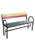 Скамейка со спинкой и подлокотниками цветная 1500x400x900