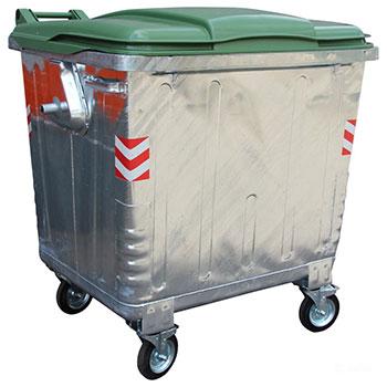 Оцинкованный евроконтейнер для ТБО 1100л. (с плоской пластиковой крышкой)