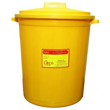 Многоразовый бак для мусора медицинских всех отходов (Класс А,Б,В,Г) с крышкой 65л.