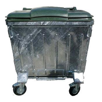 Оцинкованный евро контейнер для сбора ТБО 1100л. (с плоской пластиковой крышкой)