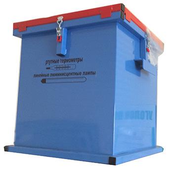 Герметичный контейнер для сбора, хранения и транспортировки на утилизацию ртутных люминесцентных ламп 500x500x500