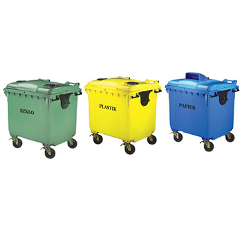 Пластиковый контейнер для раздельного сбора мусора 1100л. (стекло, пластик, жесть)